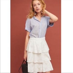 🆕RARE nwt Anthropologie tiered eyelet skirt